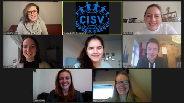 Der Vorstand von CISV German in einem Zoom Meeting - Januar 2021