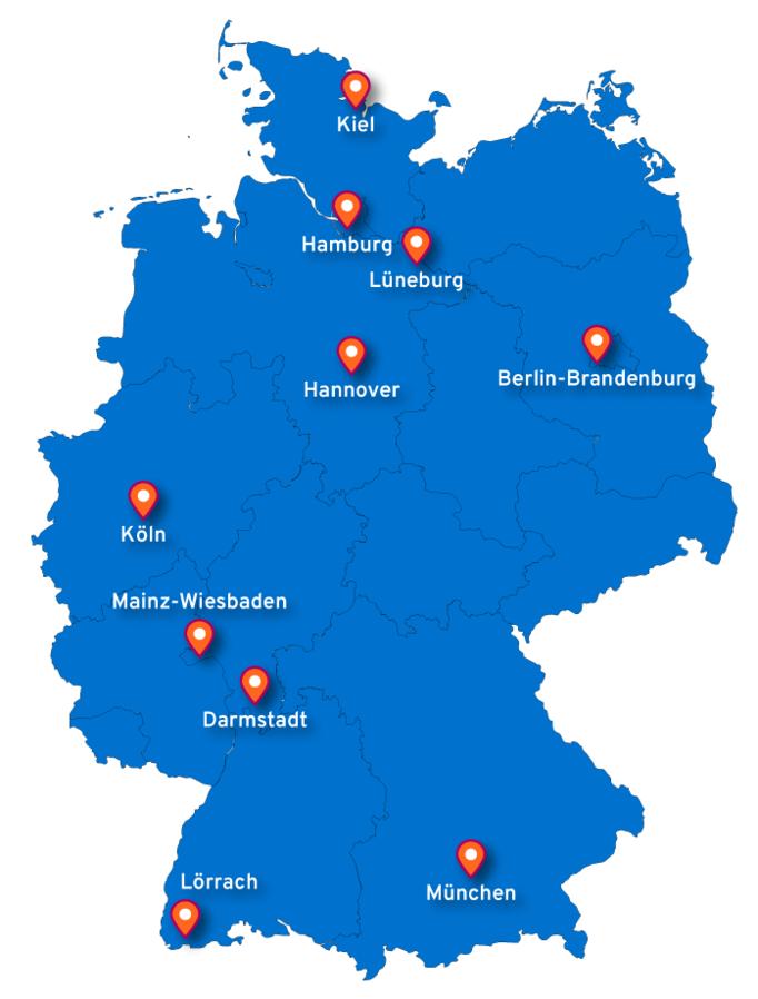 Deutschlandkarte mit den 10 CISV Ortsvereinen